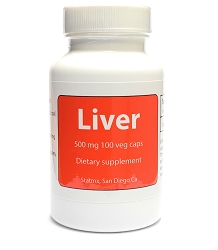 Liver Desiccated 500 mg 100 veg caps (No fillers No extra ingredients)